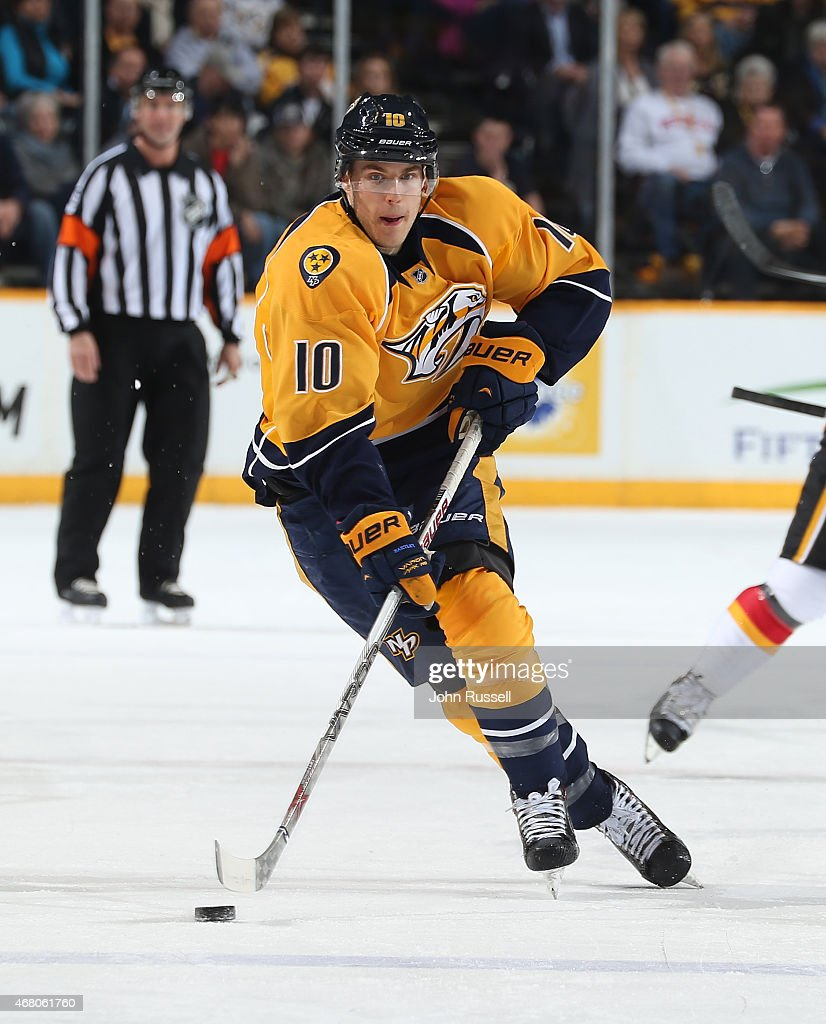 Mike Santorelli #10 of the Nashville Predators skates against the Calgary Flames during an NHL game at Bridgestone Arena on March 29, 2015 in Nashville, Tennessee.