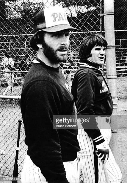 Mike Schmidt and Pete Rose of the Philadelphia Phillies wait their turn for batting practice on October 5 1981 at Drexel University in Philadelphia...