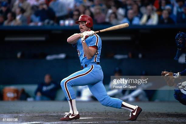 Mike Schmidt of the Philadelphia Phillies bats against the Kansas City Royals during the World Series at Royals Stadium in Kansas City Missouri in...