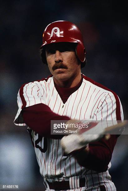 Mike Schmidt of the Philadelphia Phillies bats against the Kansas City Royals during the World Series at Veterans Stadium in Philadelphia...
