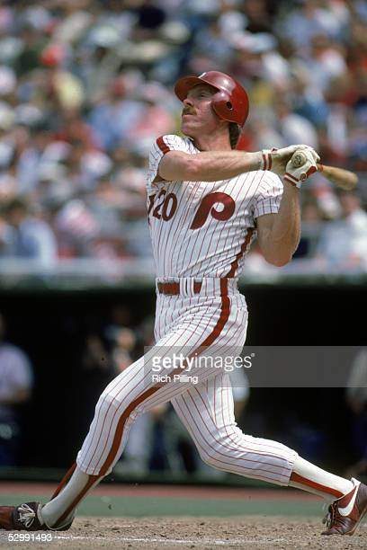 Mike Schmidt of the Philadelphia Phillies bats during a 1984 MLB game at Veterans Stadium in Philadelphia Pennsylvania Mike Schmidt played for the...