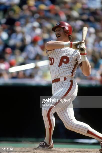 Mike Schmidt of the Philadelphia Phillies bats during a Major League Baseball game circa 1982 at Veterans Stadium in Philadelphia Pennsylvania