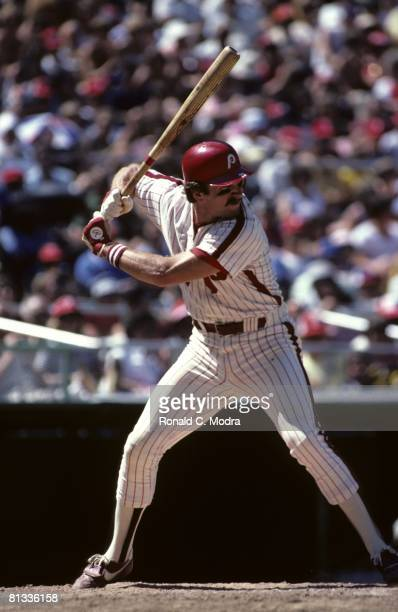 Mike Schmidt of the Philadelphia Phillies bats during a MLB game against the Pittsburgh Pirates in July 1980 in Philadelphia Pennsylvania