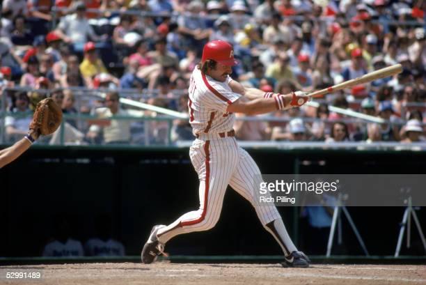 Mike Schmidt of the Philadelphia Phillies bats during an MLB game at Veterans Stadium in Philadelphia Pennsylvania Schmidt played for the...