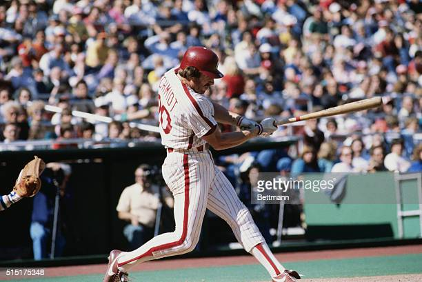 Mike Schmidt of the Philadelphia Phillies batting during a game against the New York Mets