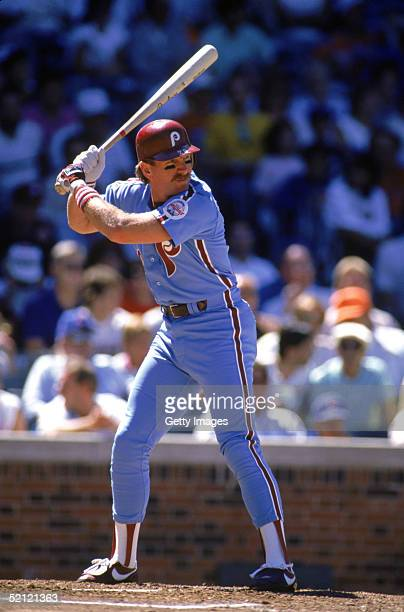 Mike Schmidt of the Philadelphia Phillies readies for the pitch during a 1988 season game against the Cubs at Wrigley Field in Chicago Illinois