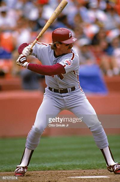 Mike Schmidt of the Philadelphia Phillies steps into the pitch during a 1989 season game against the Giants at Candlestick Park in San Francisco...
