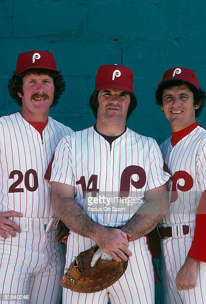 Mike Schmidt, Pete Rose and Larry Bowa of the Philadelphia Phillies pose for the camera during spring training 1979 in Clearwater, Florida.
