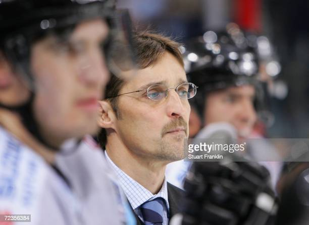Mike Schmidt, Trainer of Hamburg ponders during the DEL Bundesliga game between Hamburg Freezers and Krefeld Pinguine at the Color Line Arena on...