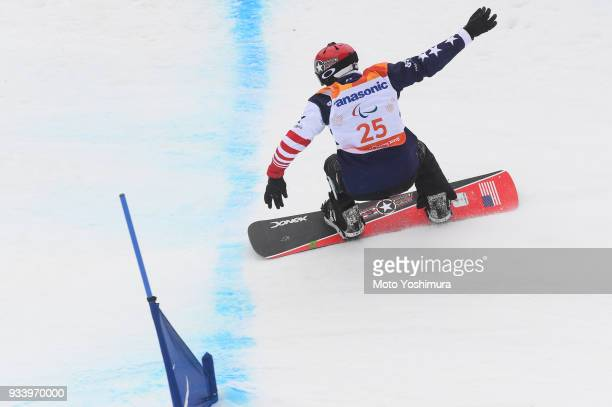 Mike Schultz of the United States competes in the Snowboard Men's Banked Slalom SBLL1 Run on day seven of the PyeongChang 2018 Paralympic Games on...