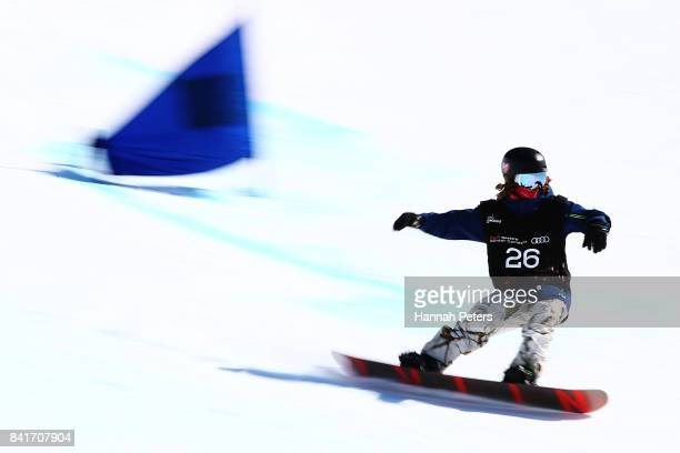 Mike Schultz of USA competes in the Men's Banked Slalom Lower Limb 1 Imp final during the Winter Games NZ Para Snowboard Banked Slalom World Cup...