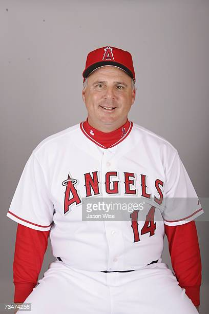 Mike Scioscia of the Los Angeles Angels of Anaheim poses during photo day at Tempe Diablo Stadium on February 22 2007 in Tempe Arizona