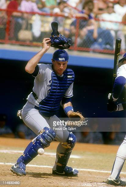Mike Scioscia of the Los Angeles Dodgers in action against the Texas Rangers during a spring training Major League Baseball game circa 1981 at...