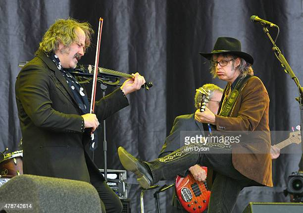 Mike Scott and Steve Wickham of The Waterboys perform live on the Pyramid stage during the second day of Glastonbury Festival at Worthy Farm Pilton...