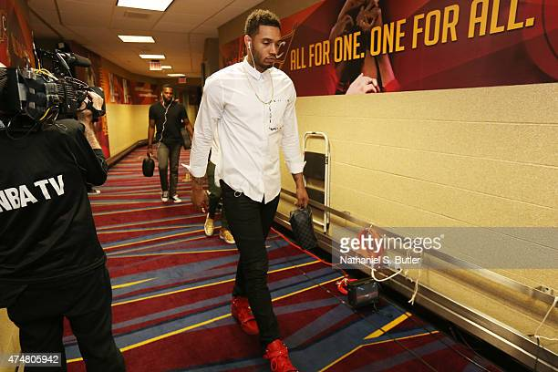 Mike Scott of the Atlanta Hawks arrives at the arena before a game against the Cleveland Cavaliers in Game Four of the Eastern Conference Finals...