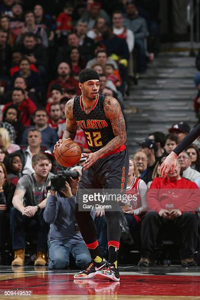 Mike Scott of the Atlanta Hawks defends the ball against the Chicago Bulls during the game on February 10 2016 at United Center in Chicago Illinois...
