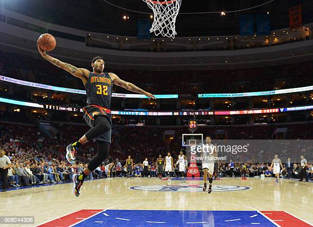 Mike Scott of the Atlanta Hawks ducks against the Philadelphia 76ers at the Wells Fargo Center on February 3 2016 in Philadelphia Pennsylvania The...