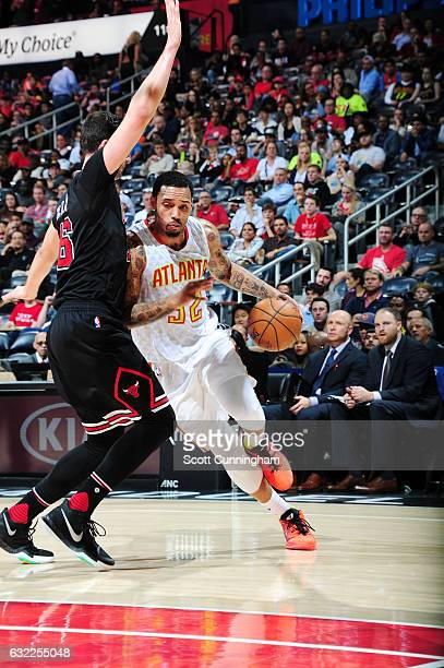 Mike Scott of the Atlanta Hawks handles the ball against the Chicago Bulls during the game on January 20 2017 at Philips Arena in Atlanta Georgia...