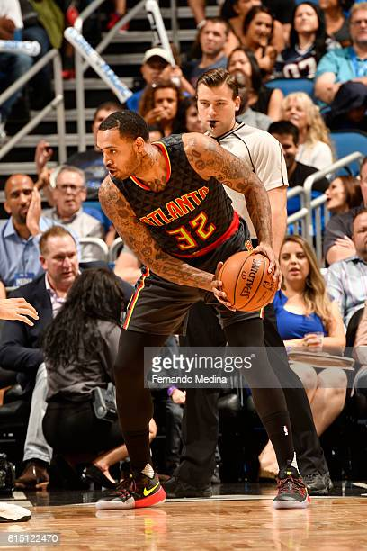 Mike Scott of the Atlanta Hawks handles the ball during a preseason game against the Orlando Magic on October 16 2016 at Amway Center in Orlando...
