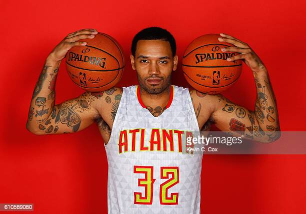 Mike Scott of the Atlanta Hawks poses during media day on September 26 2016 in Atlanta Georgia