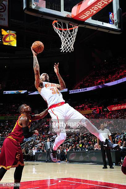 Mike Scott of the Atlanta Hawks shoots the ball against the Cleveland Cavaliers on October 10 2016 at Philips Arena in Atlanta Georgia NOTE TO USER...