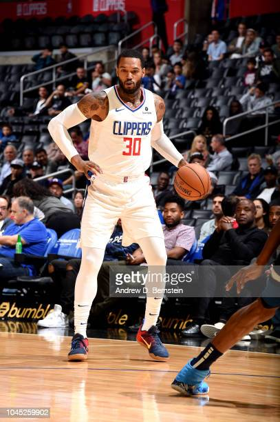 Mike Scott of the LA Clippers handles the ball against the Minnesota Timberwolves during a preseason game on October 3 2018 at Staples Center in Los...