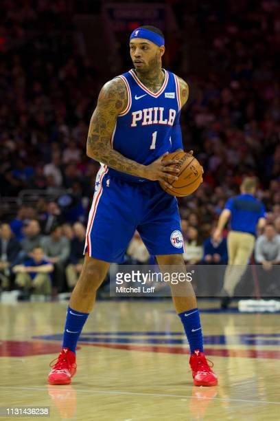 Mike Scott of the Philadelphia 76ers controls the ball against the Miami Heat at the Wells Fargo Center on February 21 2019 in Philadelphia...