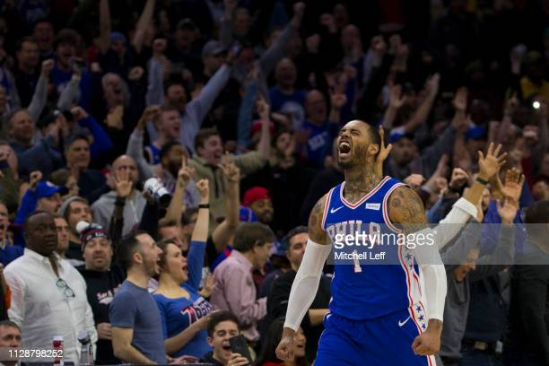 Mike Scott of the Philadelphia 76ers reacts after making a three point basket against the Orlando Magic in the fourth quarter at the Wells Fargo...