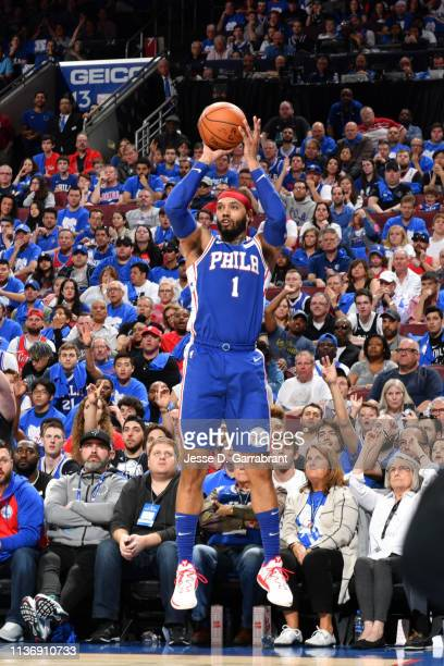 Mike Scott of the Philadelphia 76ers shoots a threepointer against the Brooklyn Nets during Game One of Round One of the 2019 NBA Playoffs on April...