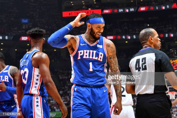 Mike Scott of the Philadelphia 76ers smiles during a game against the Toronto Raptors during Game Five of the Eastern Conference Semifinals on May 7...