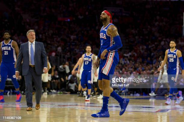 Mike Scott of the Philadelphia 76ers walks to the bench against the Brooklyn Nets in Game Five of Round One of the 2019 NBA Playoffs at the Wells...