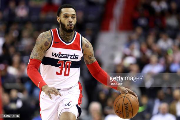 Mike Scott of the Washington Wizards dribbles the ball against the Utah Jazz at Capital One Arena on January 10 2018 in Washington DC NOTE TO USER...