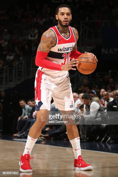 Mike Scott of the Washington Wizards handles the ball against the Utah Jazz on January 10 2018 at Capital One Arena in Washington DC NOTE TO USER...