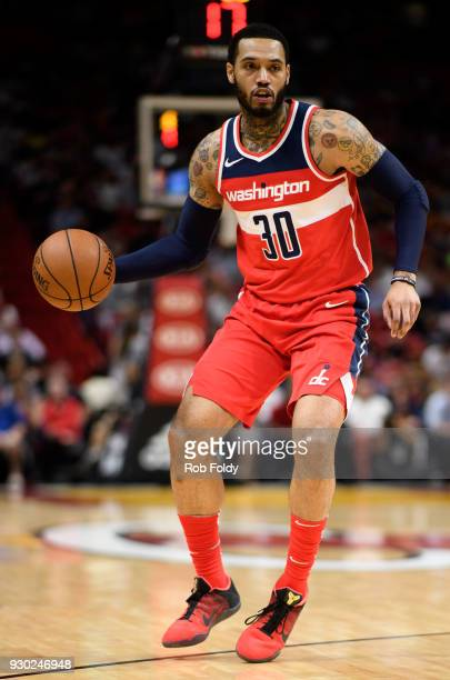 Mike Scott of the Washington Wizards in action during the game against the Miami Heat at the American Airlines Arena on March 10 2018 in Miami...