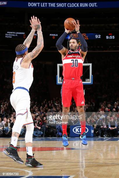 Mike Scott of the Washington Wizards shoots the ball against the New York Knicks on February 14 2018 at Madison Square Garden in New York NY NOTE TO...