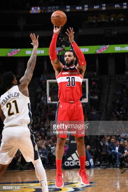 Mike Scott of the Washington Wizards shoots the ball against the Denver Nuggets on October 23 2017 at the Pepsi Center in Denver Colorado NOTE TO...