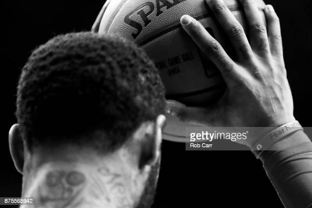 Mike Scott of the Washington Wizards waits to inbound the ball against the Miami Heat in the first half at Capital One Arena on November 17 2017 in...