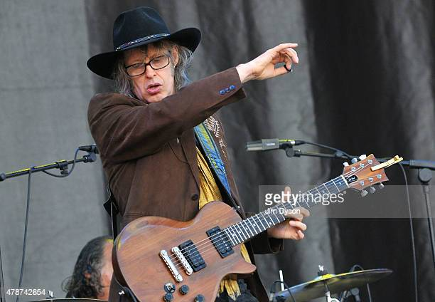 Mike Scott of The Waterboys performs live on the Pyramid stage during the second day of Glastonbury Festival at Worthy Farm Pilton on June 27 2015 in...