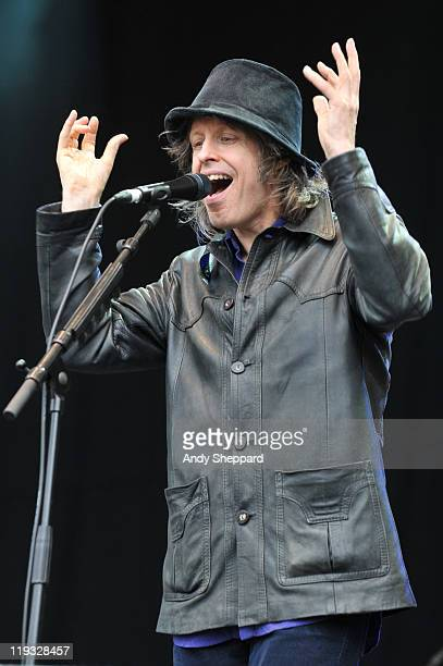 Mike Scott of The Waterboys performs on stage during the third and final day of Latitude Festival 2011 at Henham Park Estate on July 17 2011 in...