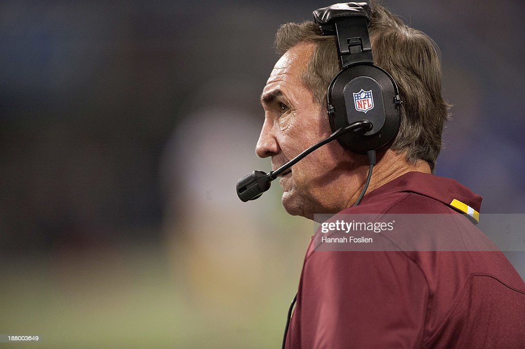 Mike Shanahan of the Washington Redskins looks on during the game against the Minnesota Vikings on November 7, 2013 at Mall of America Field at the Hubert H. Humphrey Metrodome in Minneapolis, Minnesota.