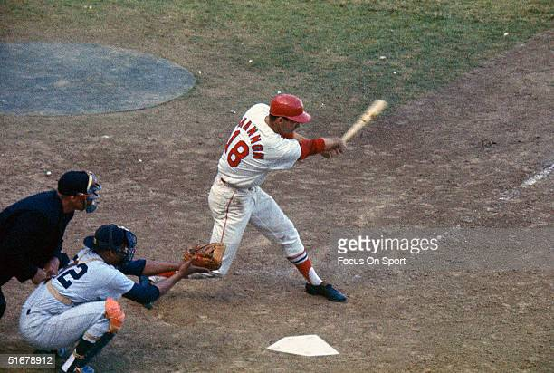 Mike Shannon of the St Louis Cardinals hitts the ball against the Yankees at Busch Stadium in St Louis Missouri in October 1964