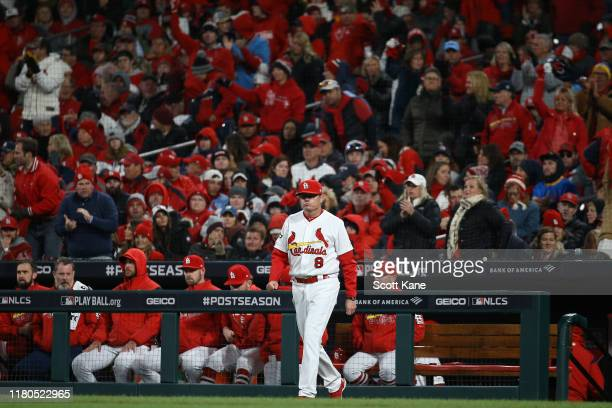 Mike Shildt of the St Louis Cardinals comes out of the dugout against the Washington Nationals during the seventh inning in game one of the National...