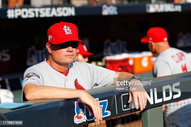 Mike Shildt of the St Louis Cardinals looks on prior to game one of the National League Division Series against the Atlanta Braves at SunTrust Park...