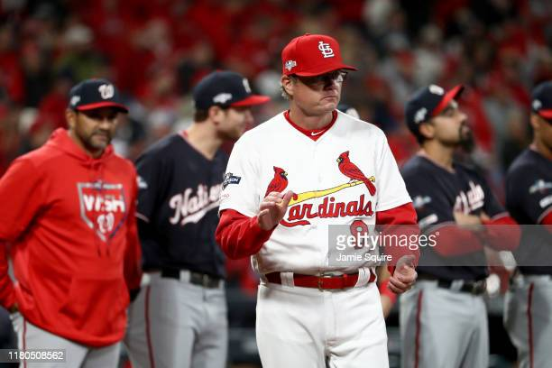 Mike Shildt of the St Louis Cardinals takes the field prior to game one of the National League Championship Series against the Washington Nationals...