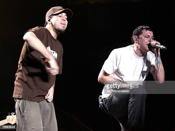 "Mike Shinoda and Chester Bennington of Linkin Park performing part of the bands ""Meteora Worldwide Tour 2004"" at the HP Pavilion on February 16, 2004..."