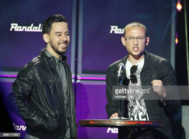 Mike Shinoda and Chester Bennington speak onstage during the 6th Annual Revolver Golden Gods Award Show held at Club Nokia on April 23 2014 in Los...