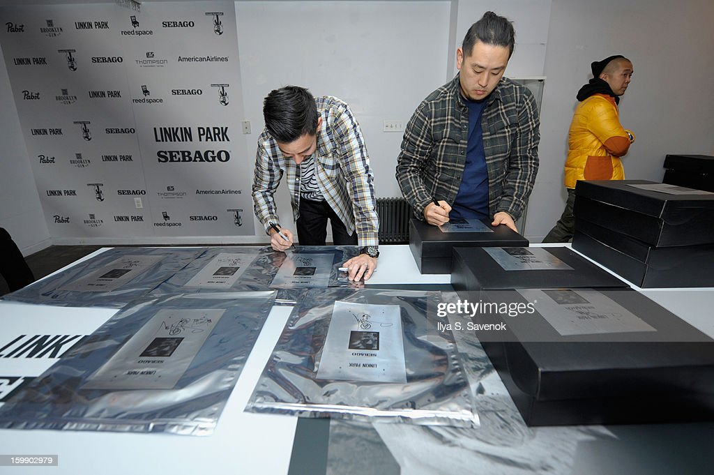 Mike Shinoda and Joe Hahn of Linkin Park attend Sebago and Linkin Park's launch of their collaboration at Reed Space NYC on January 22, 2013 in New York City.