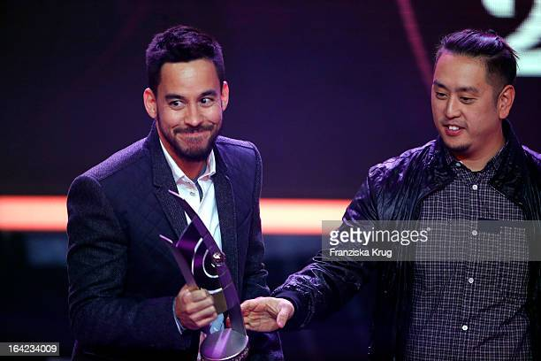 Mike Shinoda and Joe Hahn seen on stage after winning the award as Best Rock/Pop Group International at the Echo Award 2013 at Palais am Funkturm on...