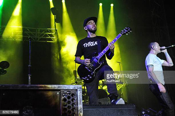 Mike Shinoda and vocalist Chester Bennington of Linkin Park perform onstage during River City Rockfest at the ATampT Center on May 24 2015 in San...