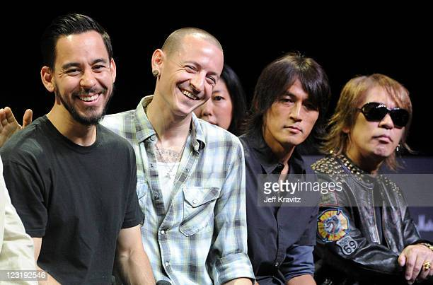 Mike Shinoda Chester Bennington of Linkin Park Koshi Inaba and Tak Matsumoto of B'z attends Linkin Park press conference at The Mayan on August 31...